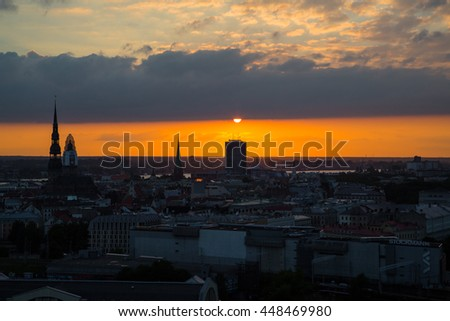 Beautiful sunset / sunrise view over the old town of Riga, Latvia
