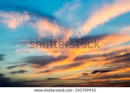 Beautiful sunset / sunrise with clouds - stock photo