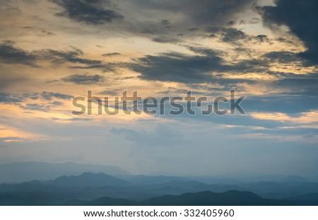 Beautiful sunset the mountains landscape - stock photo
