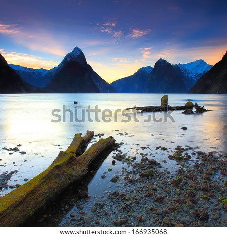 Beautiful sunset view at Milford Sound, New Zealand - stock photo