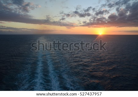 Beautiful Sunset view from the ship. Caribbean sea