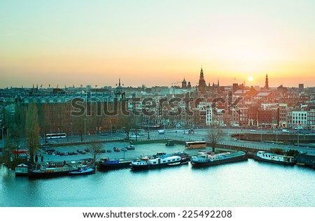 Beautiful sunset view of Amstredam Old Town. Netherlands - stock photo