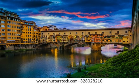 Beautiful sunset view of bridge Ponte Vecchio, Florence, Italy - stock photo