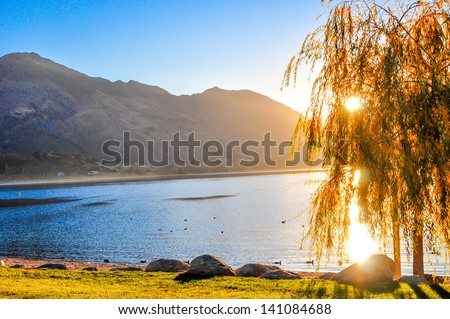 Beautiful Sunset view of landscape in New Zealand - stock photo