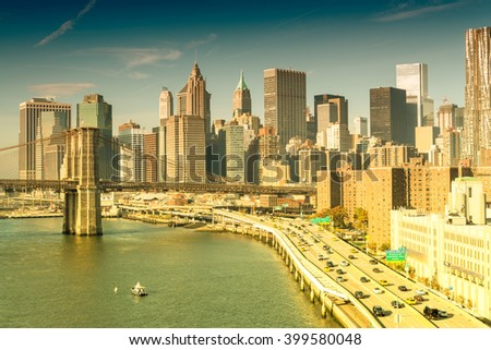 Beautiful sunset view of New York City. Aerial cityscape. - stock photo