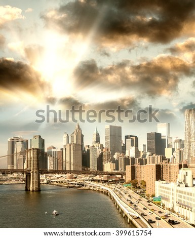 Beautiful sunset view of New York City. Aerial cityscape.