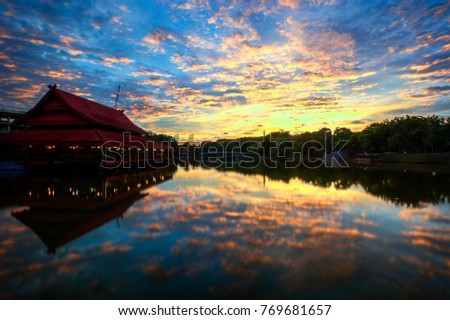 Beautiful sunset view of one of biggest cities in Malaysia, lake garden of Shah Alam.