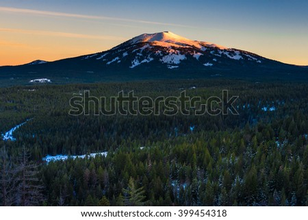 Beautiful sunset with Burney Mountain California - stock photo
