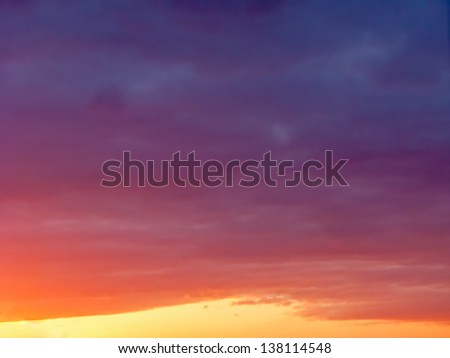 Beautiful sunset with dramatic cloudscape