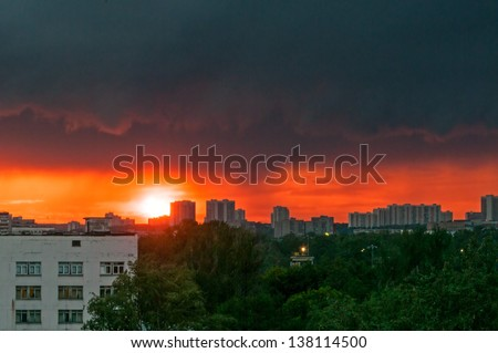 Beautiful sunset with dramatic cloudscape over skyline. Moscow, Russia.