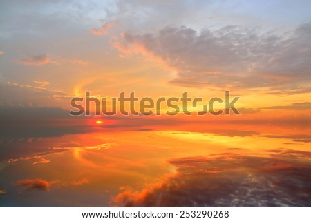 Beautiful Sunset with reflection - stock photo