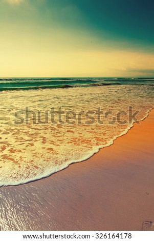 Beautiful surfing tropical sand beach on sunny summer day