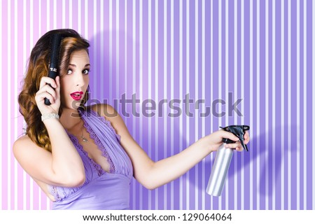 Beautiful Surprised Brunette Pinup Woman Posing At Beauty Salon With Long Curly Hairstyle And Hair Product On Classic Copyspace Background - stock photo