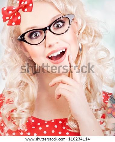 Beautiful surprised girl - stock photo