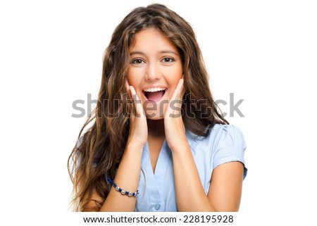 Beautiful surprised woman isolated on white  - stock photo