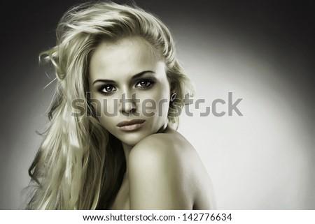 Beautiful sweet blond woman - stock photo
