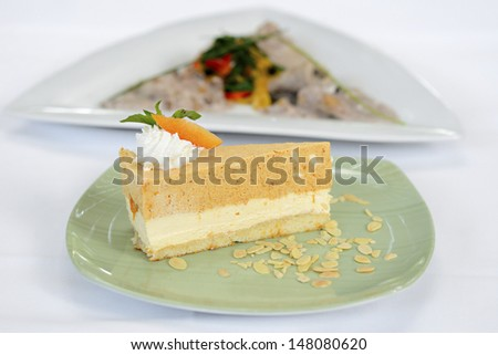Beautiful sweet cake served - stock photo