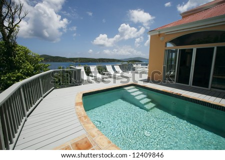 beautiful swimming pool and scenic view - stock photo