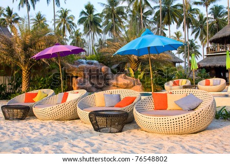 Beautiful swimming pool at sunset , Thailand - stock photo