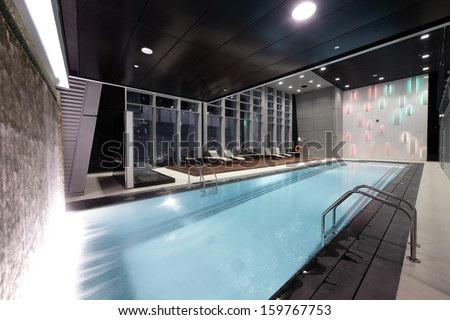 beautiful swimming pool inside european style building
