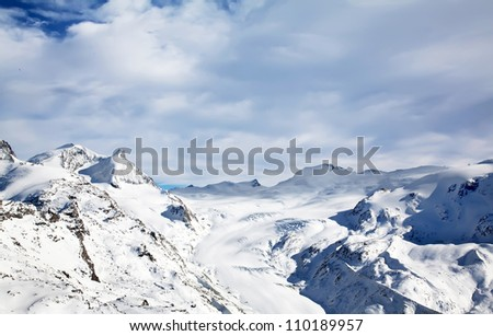 Beautiful Swiss winter landscape full of snow