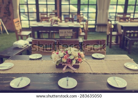 Beautiful table setting for an event party or wedding celebration - stock photo