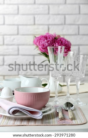 Table Setting Background beautiful table setting flowers vase on stock photo 294743186