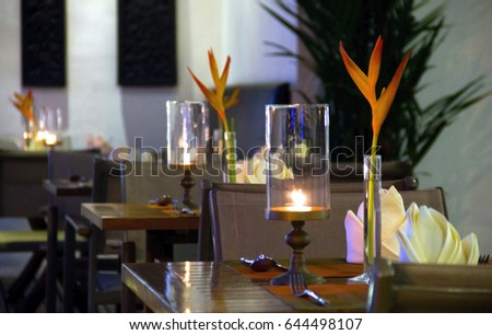 Love tryst stock images royalty free images vectors shutterstock beautiful table setting with swabs spoons and forks on the table a candle burning sciox Images