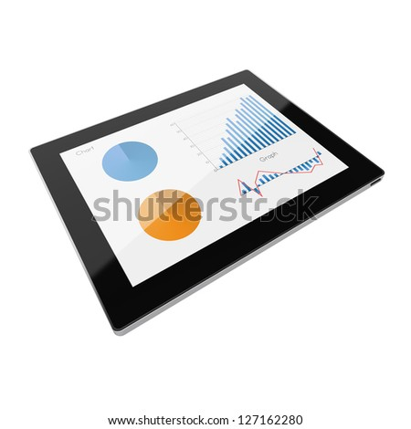 Beautiful  tablet computer with graph. Tablet pc on white background, 3d render - stock photo