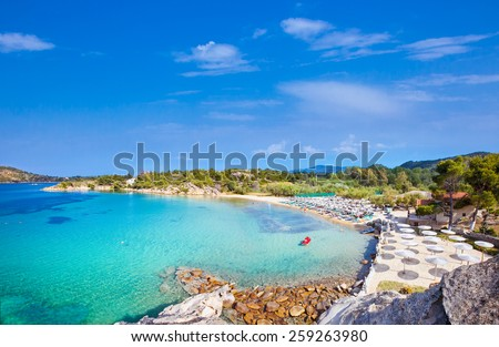 Beautiful Talgo beach on the east coast of Sithonia peninsula, Halkidiki, Greece. - stock photo