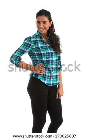 Beautiful tall Indian woman in a plaid shirt