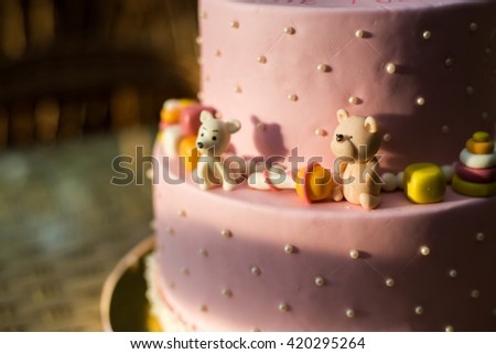 Beautiful tasty birthday cake - stock photo