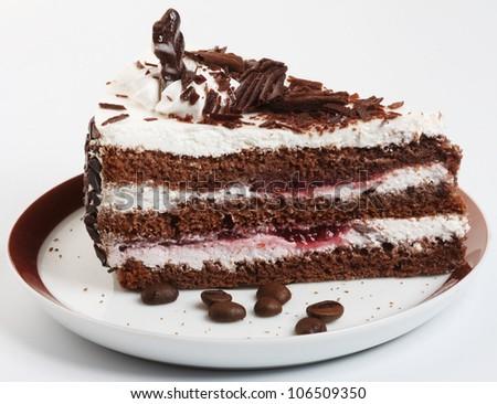 Beautiful tasty chocolate cake close up shoot - stock photo