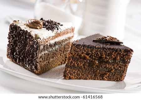 Beautiful tasty chocolate cakes close up shoot - stock photo
