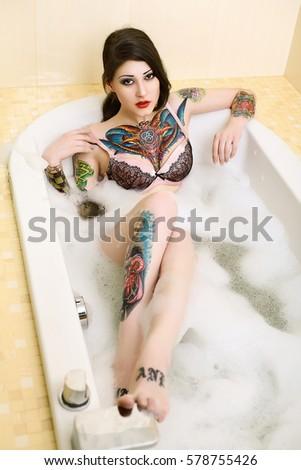 Beautiful Tattoo Model Bath Stock Photo 578755426 - Shutterstock