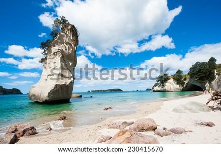 Beautiful Te Hoho Rock at Cathedral Cove Marine Reserve, Coromandel Peninsula, New Zealand. Panoramic photo,  - stock photo