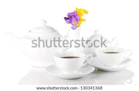 Beautiful tea service, isolated on white - stock photo