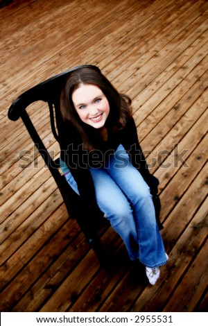 Beautiful teen from above - stock photo