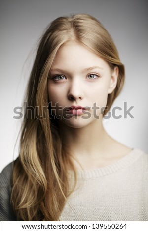 beautiful teen girl portrait - stock photo