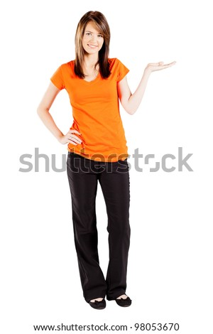 beautiful teen girl presenting on white background - stock photo