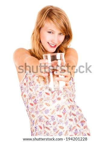 beautiful teen girl smiling, white background - stock photo