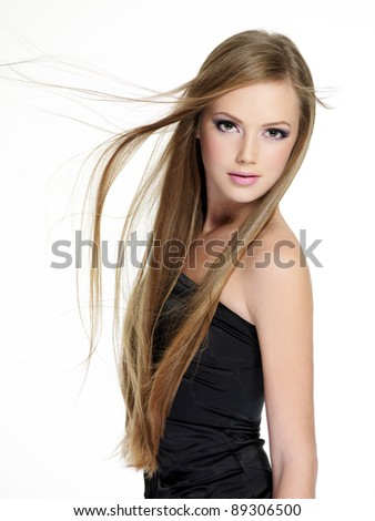 Beautiful teen girl with long straight hairs - isolated on white - stock photo