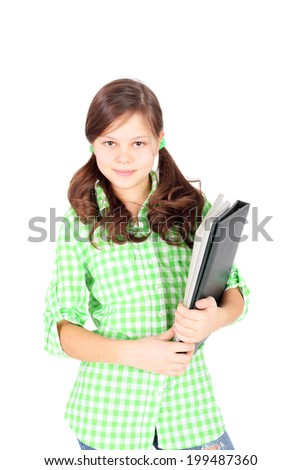 beautiful teen girl with the folder in her hands