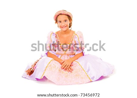 Beautiful teen with dress on white background .