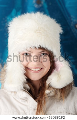 Beautiful teen woman in winter clothes