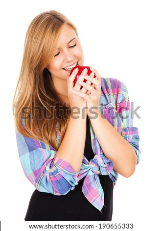 beautiful teen woman with apple, white background
