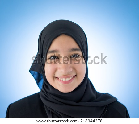 Beautiful teenage girl with a scarf - stock photo