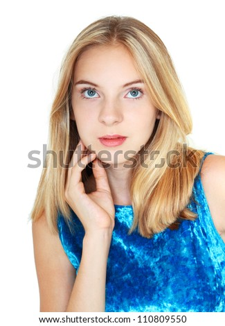beautiful teenage girl with perfect skin touching her face by hands, thinking and looking upside. Isolated on white background