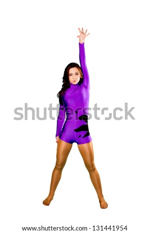 Beautiful teenager girl playing sports or dancing. Isolated on white background - stock photo