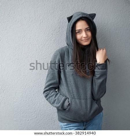 beautiful teenager girl smiles sweetly - stock photo